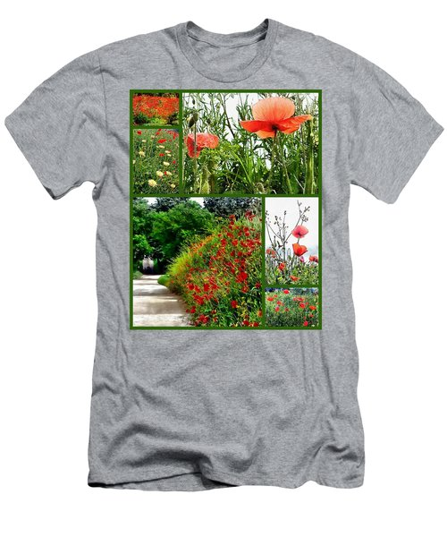 Umbrian Red Poppy Collage Men's T-Shirt (Athletic Fit)