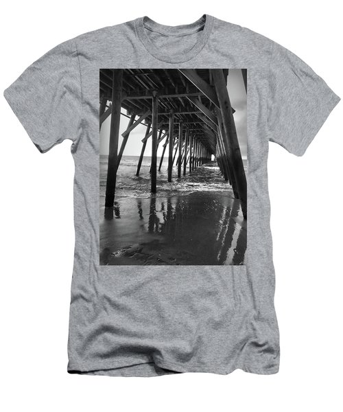 Under The Pier At Myrtle Beach Men's T-Shirt (Slim Fit) by Kelly Hazel