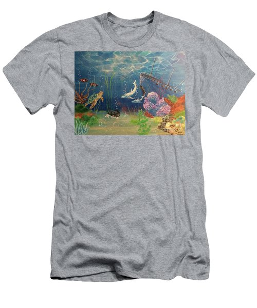 Men's T-Shirt (Athletic Fit) featuring the painting Under The Sea by Denise Tomasura