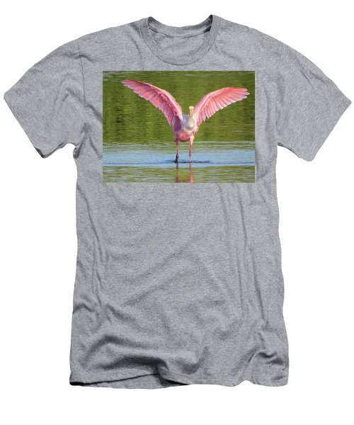 Up, Up And Away Sanibel Spoonbill Men's T-Shirt (Slim Fit) by Melinda Saminski