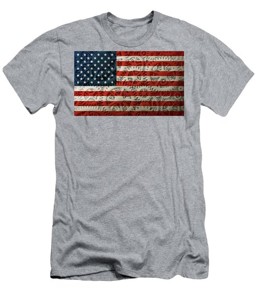 Us Flag And The Gears Design Men's T-Shirt (Athletic Fit)