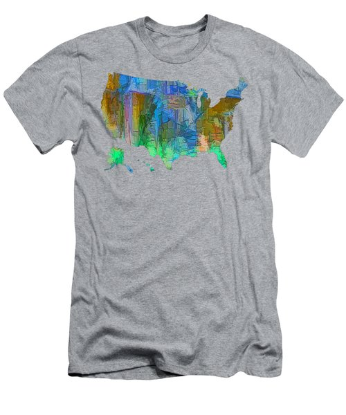 Usa - Colorful Map Men's T-Shirt (Athletic Fit)