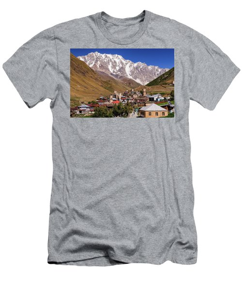 Men's T-Shirt (Slim Fit) featuring the photograph Ushguli And  Shkhara Mount by Sergey Simanovsky