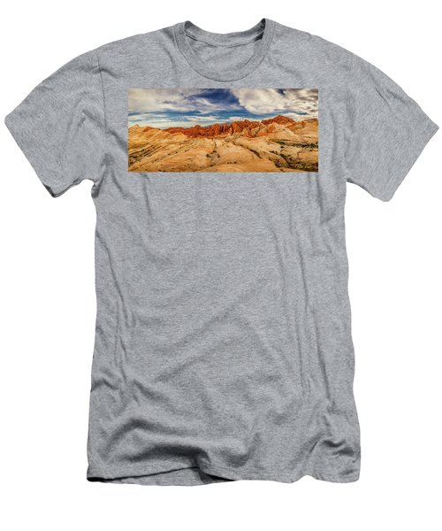 Men's T-Shirt (Athletic Fit) featuring the photograph Valley Of Fire Panorama by Rikk Flohr