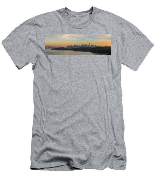 Vancouver Bc Skyline Along Stanley Park At Sunset Men's T-Shirt (Athletic Fit)