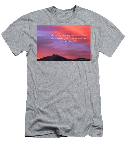 Men's T-Shirt (Slim Fit) featuring the photograph Ventura Ca Two Trees At Sunset With Bible Verse by John A Rodriguez