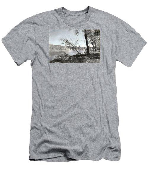 Vergennes Falls Digital Charcoal Men's T-Shirt (Slim Fit) by Rena Trepanier