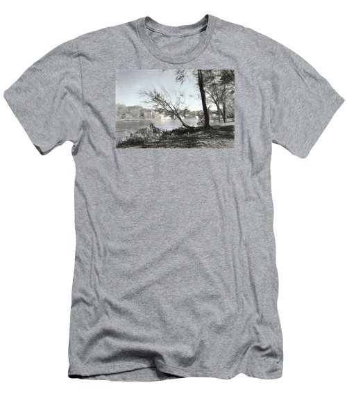 Vergennes Falls Digital Charcoal Men's T-Shirt (Athletic Fit)