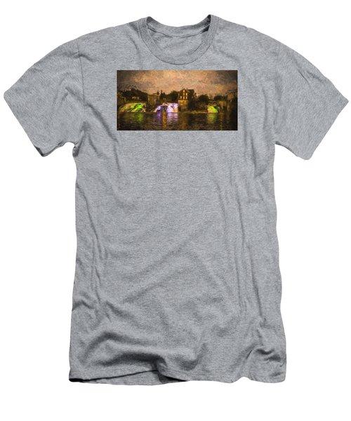 Vergennes Falls Lit Up Men's T-Shirt (Slim Fit) by Rena Trepanier