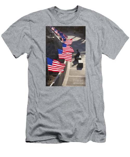 Veteran With United States Flags Men's T-Shirt (Slim Fit) by John A Rodriguez