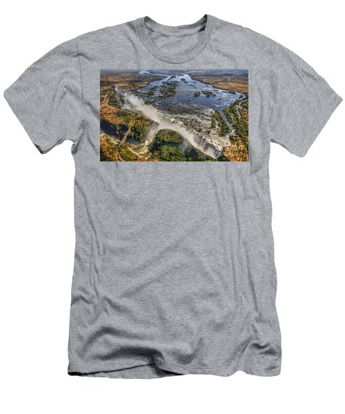 Men's T-Shirt (Slim Fit) featuring the photograph Victoria Falls, The Smoke That Thunders by Myrna Bradshaw