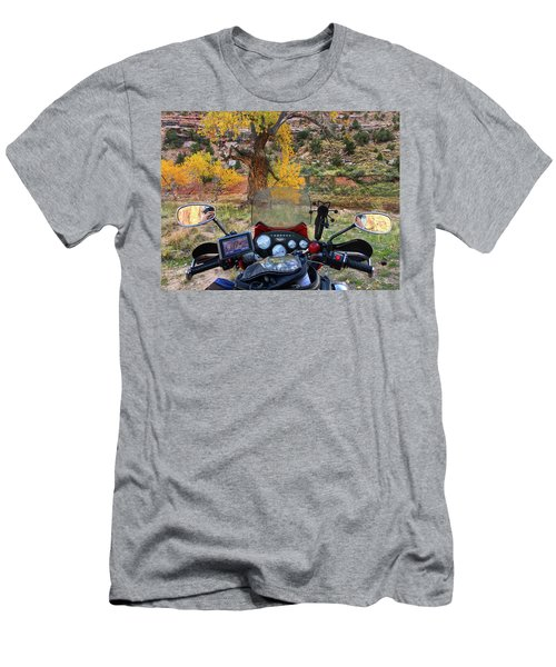 View From My Handlebars Of Cottowood Trees In The Fall In Buckhorn Wash Men's T-Shirt (Athletic Fit)