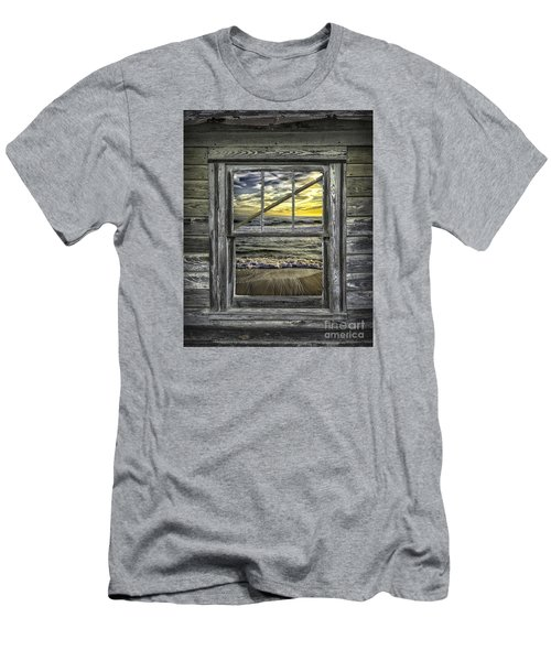 View From Weathered Beach Cottage Men's T-Shirt (Slim Fit) by Walt Foegelle