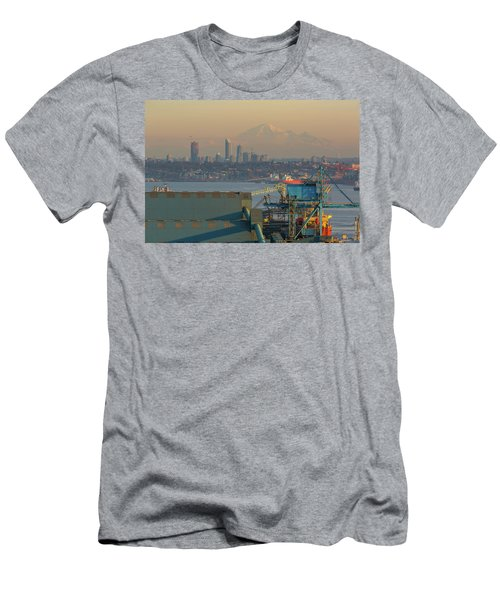 View Of Mount Baker And Vancouver Bc At Sunset Men's T-Shirt (Athletic Fit)