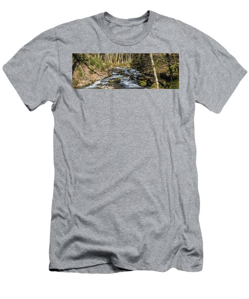 Views Of A Stream, II Men's T-Shirt (Slim Fit) by Chuck Flewelling