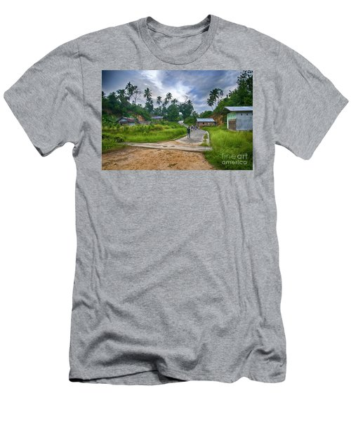 Men's T-Shirt (Slim Fit) featuring the photograph Village Scene by Charuhas Images