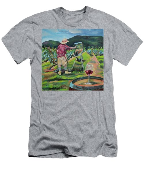 Men's T-Shirt (Athletic Fit) featuring the painting Vineyard Plein Air Painting - We Paint With Wine by Jan Dappen
