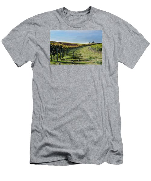 Men's T-Shirt (Slim Fit) featuring the photograph Vineyard Shadows Livermore by Haleh Mahbod