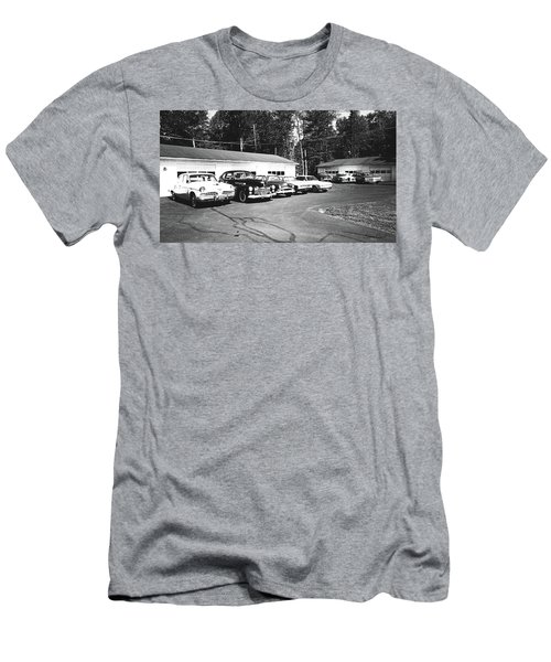 Men's T-Shirt (Athletic Fit) featuring the photograph Vintage Classic Cars In Black And White by Trina Ansel