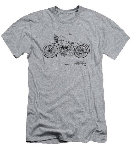 Vintage Harley-davidson Motorcycle 1928 Patent Artwork Men's T-Shirt (Slim Fit) by Nikki Smith