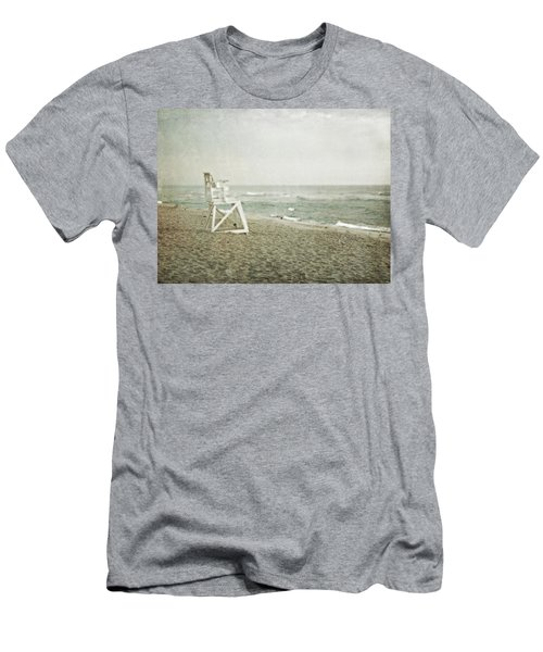 Vintage Inspired Beach With Lifeguard Chair Men's T-Shirt (Slim Fit) by Brooke T Ryan