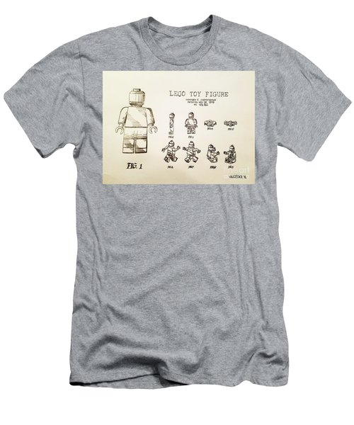 Vintage Lego Toy Figure Patent - Graphite Pencil Sketch Men's T-Shirt (Athletic Fit)