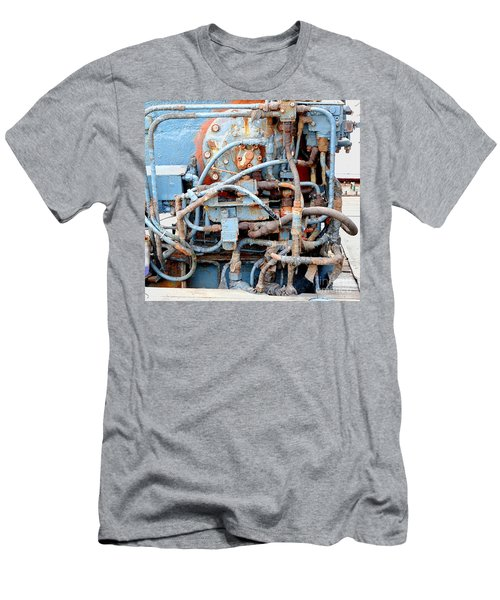 Men's T-Shirt (Slim Fit) featuring the photograph Vintage Old Diesel Engine On A Ship by Yali Shi