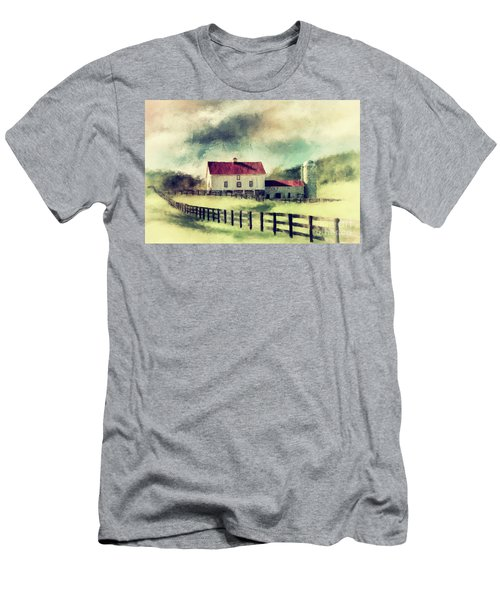 Men's T-Shirt (Slim Fit) featuring the digital art Vintage Red Roof Barn by Lois Bryan