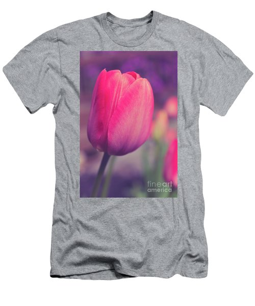 Men's T-Shirt (Athletic Fit) featuring the photograph Vintage Red Tulip Flower by Edward Fielding