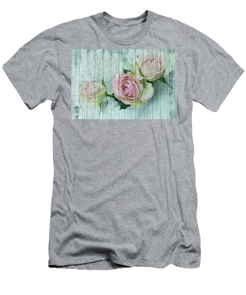 Vintage Shabby Chic Pink Roses On Wood Men's T-Shirt (Athletic Fit)