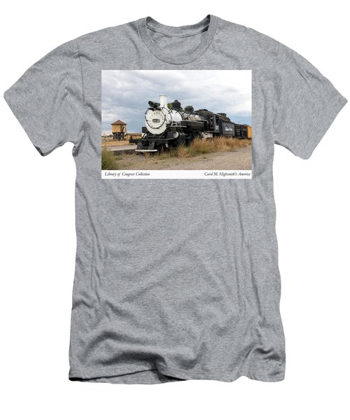 Men's T-Shirt (Slim Fit) featuring the photograph Vintage Train At A Scenic Railroad Station In Antonito In Colorado by Carol M Highsmith