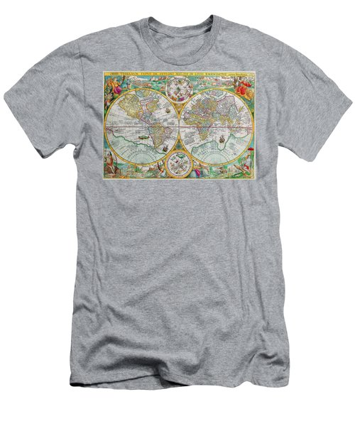 Men's T-Shirt (Slim Fit) featuring the photograph Vintage World Map by Peggy Collins