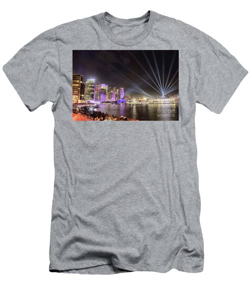 Vivid Sydney Skyline By Kaye Menner Men's T-Shirt (Slim Fit) by Kaye Menner