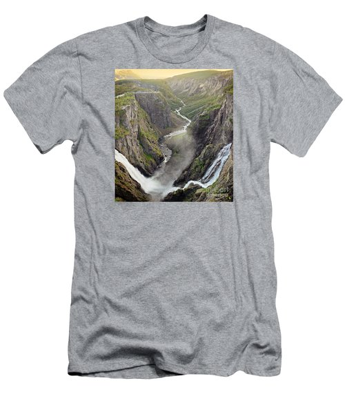 Voringsfossen Waterfall And Canyon Men's T-Shirt (Athletic Fit)