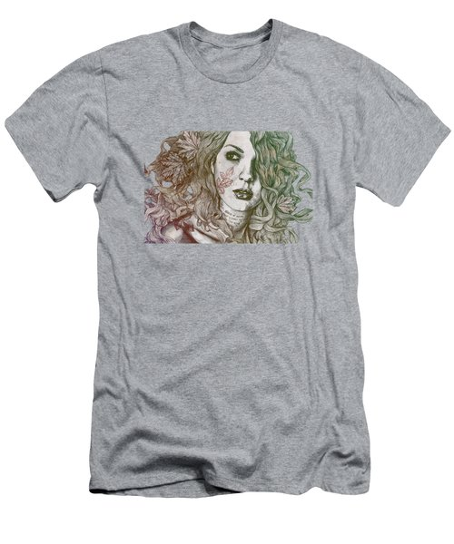 Wake - Autumn - Street Art Woman With Maple Leaves Tattoo Men's T-Shirt (Athletic Fit)
