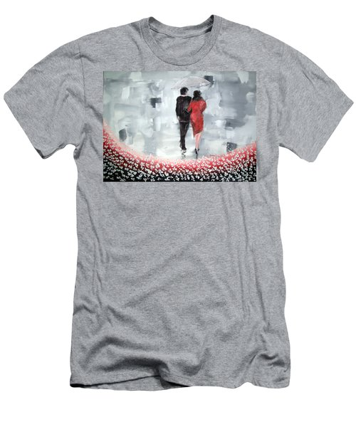 Men's T-Shirt (Slim Fit) featuring the painting Walk In The Garden by Raymond Doward