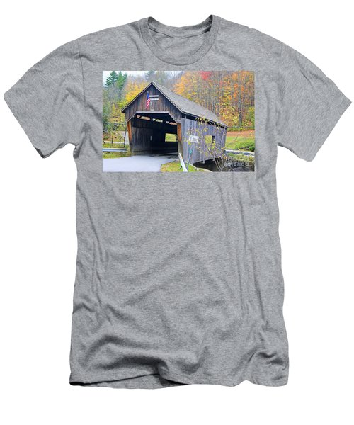Warren Covered Bridge In Vermont Men's T-Shirt (Athletic Fit)