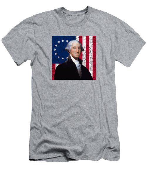 Washington And The American Flag Men's T-Shirt (Athletic Fit)