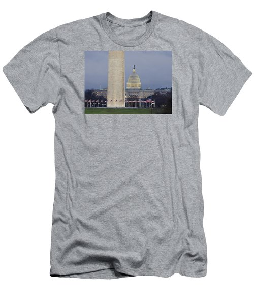 Washington Monument And United States Capitol Buildings - Washington Dc Men's T-Shirt (Slim Fit) by Brendan Reals