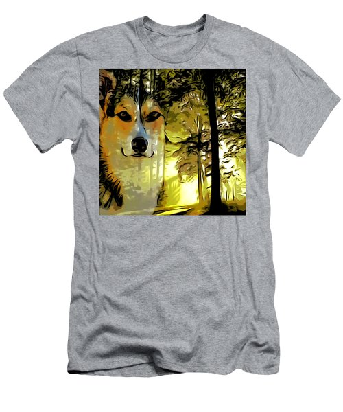 Men's T-Shirt (Slim Fit) featuring the digital art Watcher Of The Woods by Kathy Kelly