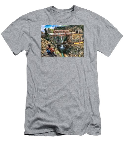 Watching The World Go By Men's T-Shirt (Slim Fit) by Michael Cleere