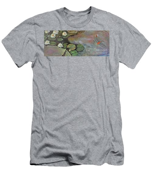 Men's T-Shirt (Athletic Fit) featuring the painting Water Lilies Late Afternoon by Marlene Book