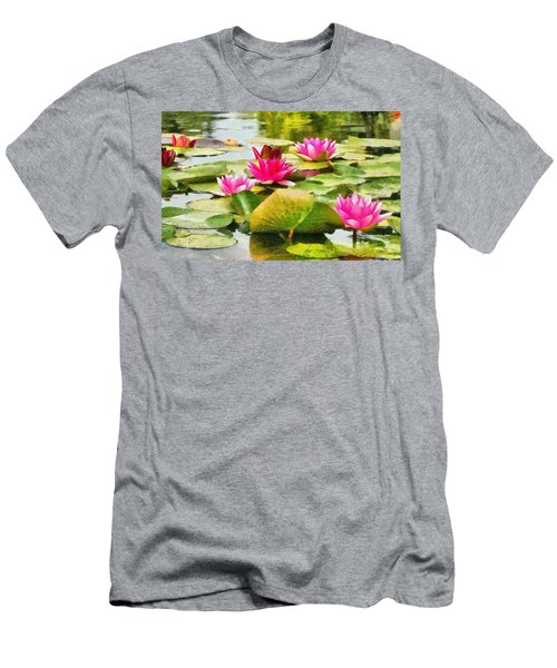 Water Lilies Men's T-Shirt (Slim Fit) by Maciek Froncisz