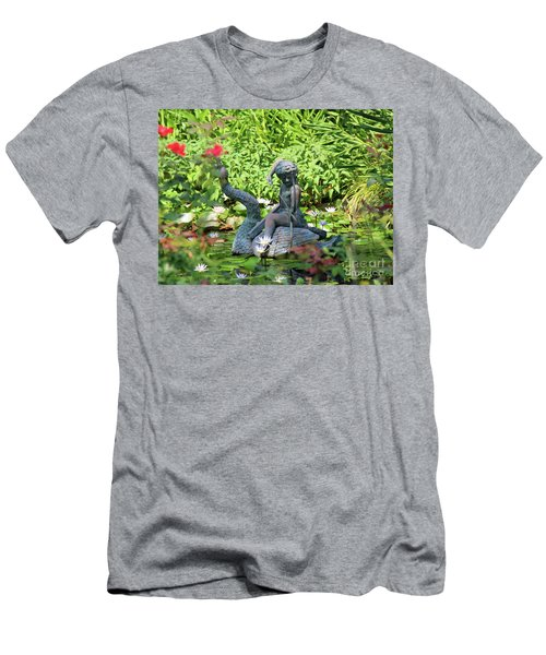 Water Lilly Pond Men's T-Shirt (Slim Fit) by Inspirational Photo Creations Audrey Woods