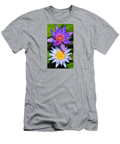 Water Lily Blossoms Men's T-Shirt (Slim Fit) by Kerri Ligatich