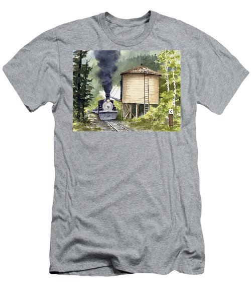 Men's T-Shirt (Athletic Fit) featuring the painting Water Stop by Sam Sidders