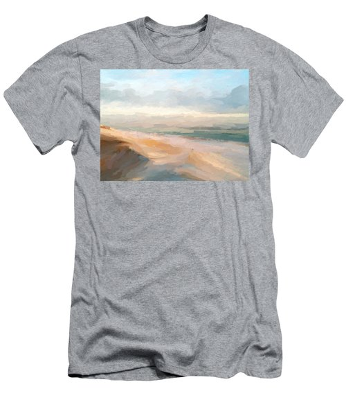 Watercolor Beach Abstract Men's T-Shirt (Slim Fit) by Anthony Fishburne