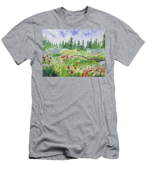 Watercolor - Colorado Flower And Tree Landscape Men's T-Shirt (Athletic Fit)