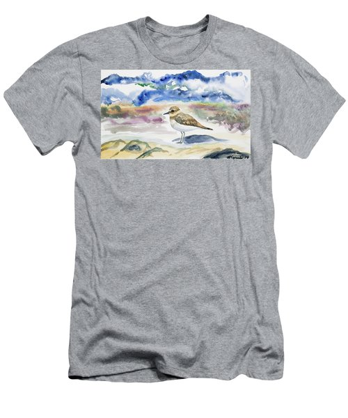 Watercolor - Double-banded Plover On The Beach Men's T-Shirt (Athletic Fit)