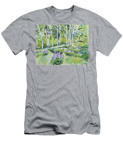 Watercolor - Early Summer Aspen And Lupine Men's T-Shirt (Athletic Fit)